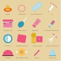 illustrazione di molti metodi di controllo delle nascite. metodo di contraccezione. buono da usare per contenuti medici. vettore
