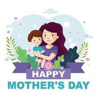 felice festa della mamma tenendo in braccio il bambino vettore