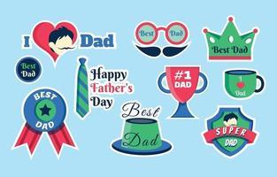 set di adesivi per la festa del papà vettore