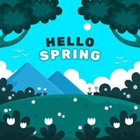 ciao primavera con paesaggio naturale vettore