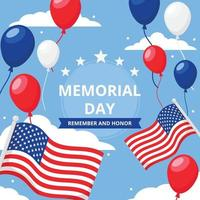 sfondo del memorial day degli stati uniti vettore