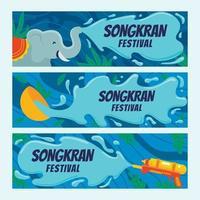 banner festivo di songkran vettore