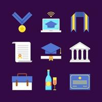 collezione di icone colorate di laurea vettore