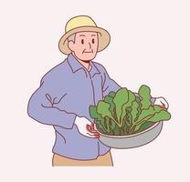 un vecchio contadino maschio è in piedi con le verdure. illustrazioni di disegno vettoriale stile disegnato a mano.