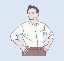 un capo è in una posa arrabbiata. illustrazioni di disegno vettoriale stile disegnato a mano.