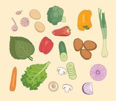 vari tipi di verdure. illustrazioni di disegno vettoriale stile disegnato a mano.