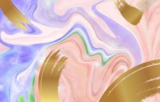 fondo dell'acquerello di tratti di oro viola rosa liquido vettore
