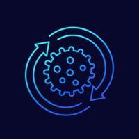icona del virus con le frecce, linea di design vettore