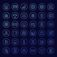 capitale di rischio, investimenti, hedge fund, set di icone di linea di finanza vettore