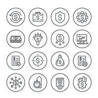 finanza, gestione finanziaria e monetaria, set di icone di linea di ottimizzazione dei costi vettore
