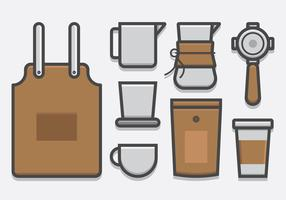 Barista e caffè, caffettiera Icon Set in stile Lineart vettore