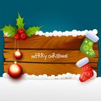 illustrazione di Natale di fondo in legno