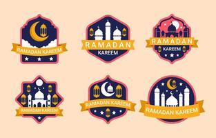 collezione di badge ramadan vettore