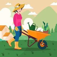 donna che fa il concetto di giardinaggio vettore