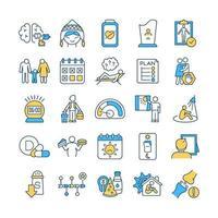 set di icone di colore rgb trattamento triste vettore