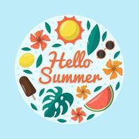 ciao estate piatto colorato vettore