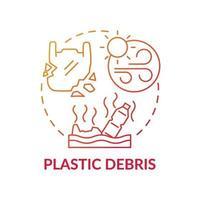 icona del concetto di detriti di plastica vettore