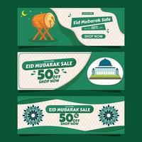 set di banner verde eid mubarak vettore