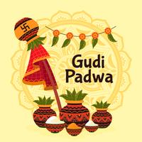 gudi padwa design con alcune pentole vettore