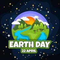 illustrazione piatta giornata della terra vettore