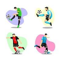 set di caratteri del giocatore di calcio vettore