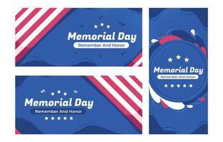 collezione di banner del memorial day con accento della bandiera americana vettore