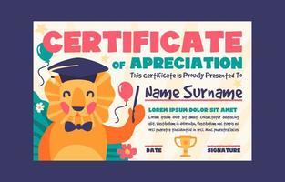 certificato di apprezzamento per i bambini delle scuole elementari vettore