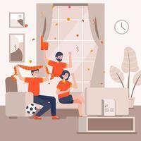 tre persone che guardano il calcio in televisione vettore