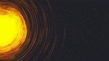 vettore sole che esplode sullo sfondo dell'universo