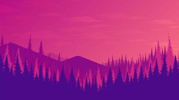 foresta rosa e viola con le montagne vettore