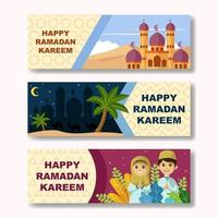 felice banner di ramadan kareem vettore