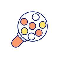 particelle sotto un'icona di colore rgb lente di ingrandimento vettore