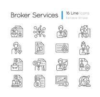 set di icone lineare di servizio di broker vettore