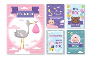 collezione di carte di nascita del bambino vettore