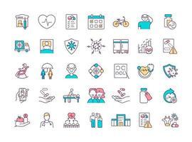 set di icone di colore rgb programma di salute vettore