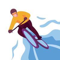illustrazione del manifesto dell'uomo di ciclismo di stile piano vettore