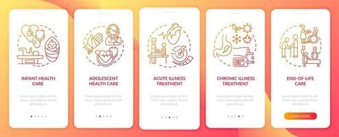 il medico di famiglia supporta la schermata della pagina dell'app mobile onboarding rossa con i concetti vettore