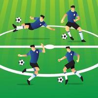 collezione di personaggi del giocatore di calcio vettore