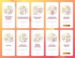 schermata della pagina dell'app mobile onboarding rosso medico di famiglia con set di concetti vettore