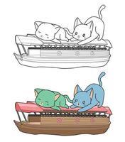 cartone animato gatti e barca da colorare pagina per bambini vettore
