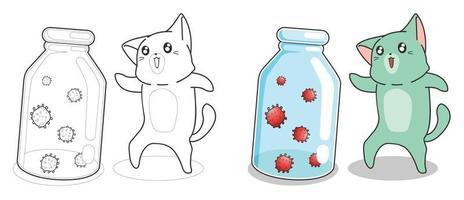 adorabile gatto e virus pagina da colorare dei cartoni animati per i bambini vettore