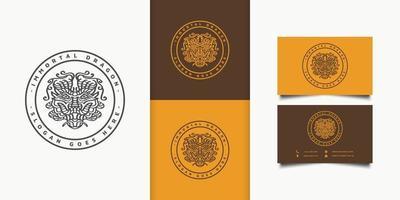logo astratto testa di drago in un cerchio con stile di linea. può essere utilizzato per il marchio, l'identità aziendale o l'emblema vettore