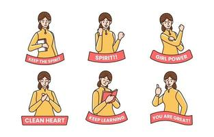 adesivi personaggi kartini day vettore