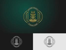 logo della pianta in vaso con un concetto minimalista in stile linea per loghi spa, hotel o bellezza vettore