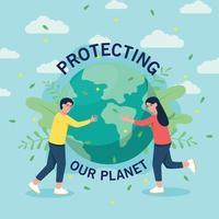 un uomo e una donna abbracciano la terra per aver salvato il pianeta vettore
