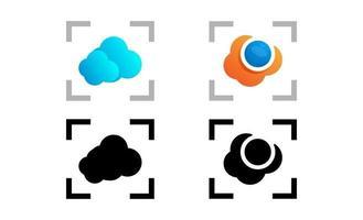 illustrazione di vettore del modello di logo creativo della tecnologia della macchina fotografica della nuvola
