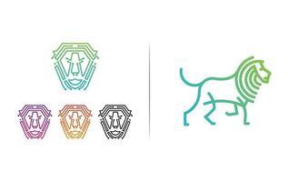 elemento dell'icona dell'illustrazione di vettore del modello di logo della linea del leone isolato - vettore