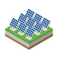 pannello solare isometrico su sfondo bianco vettore