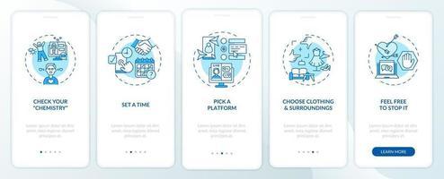 suggerimenti per appuntamenti video onboarding schermata della pagina dell'app mobile con concetti. vettore