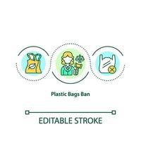 icona del concetto di divieto di sacchetti di plastica vettore